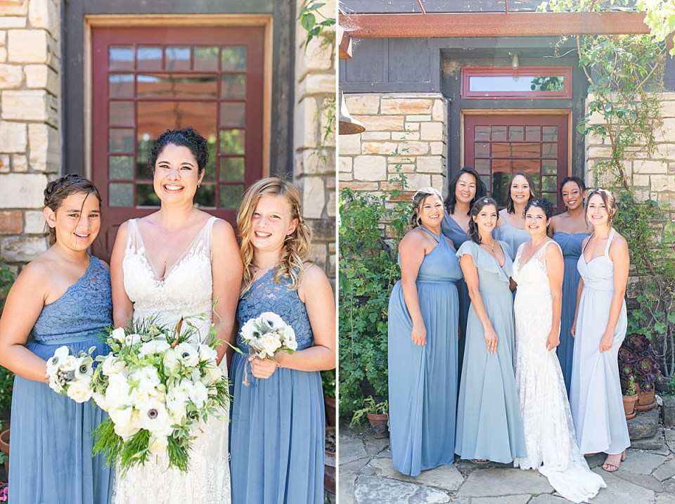 Brandi and her jr. bridesmaids holding all of their bouquets. A second image of Brandi and all of her bridesmaids outside in front of her getting ready location at her Rancho San Julian Wedding venue.