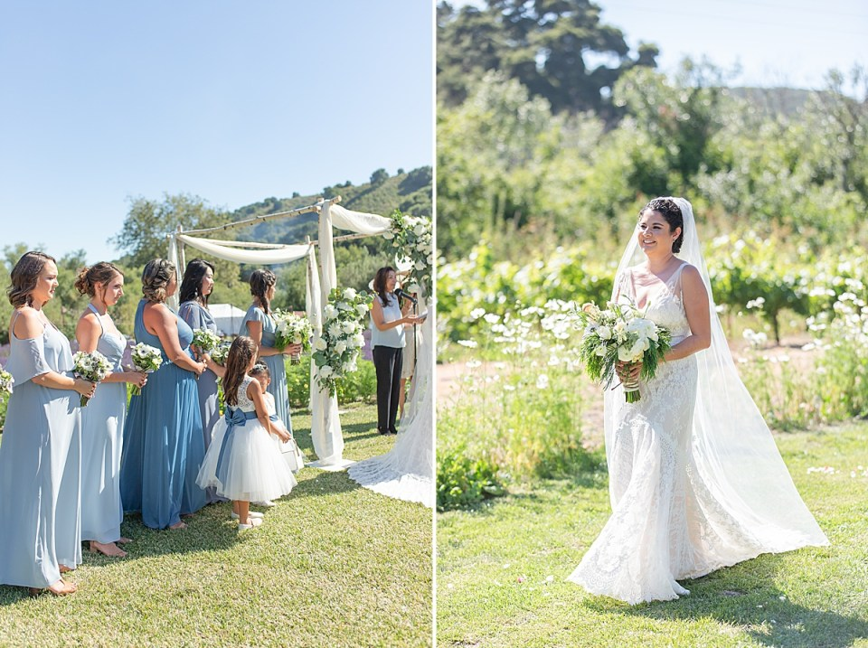 Brandi's bridesmaids during the ceremony and a second image of Brandi as she walks down the aisle to get married!