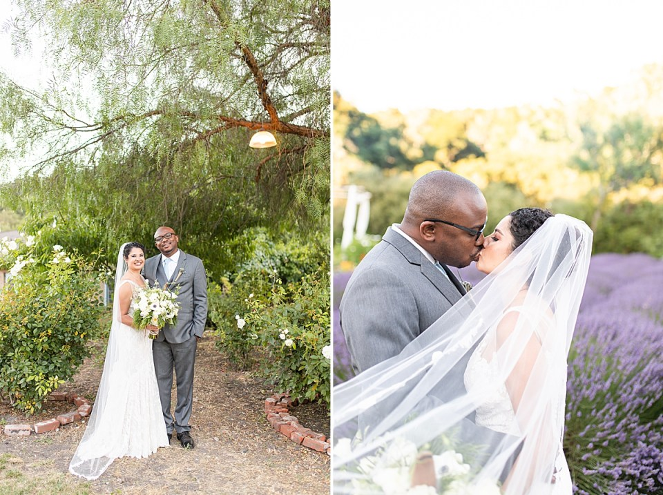 Brandi & Victor standing close together and smiling at the camera. A second picture of Brandi & Victor sharing a kiss in front of the lavender fields during their Rancho San Julian Wedding