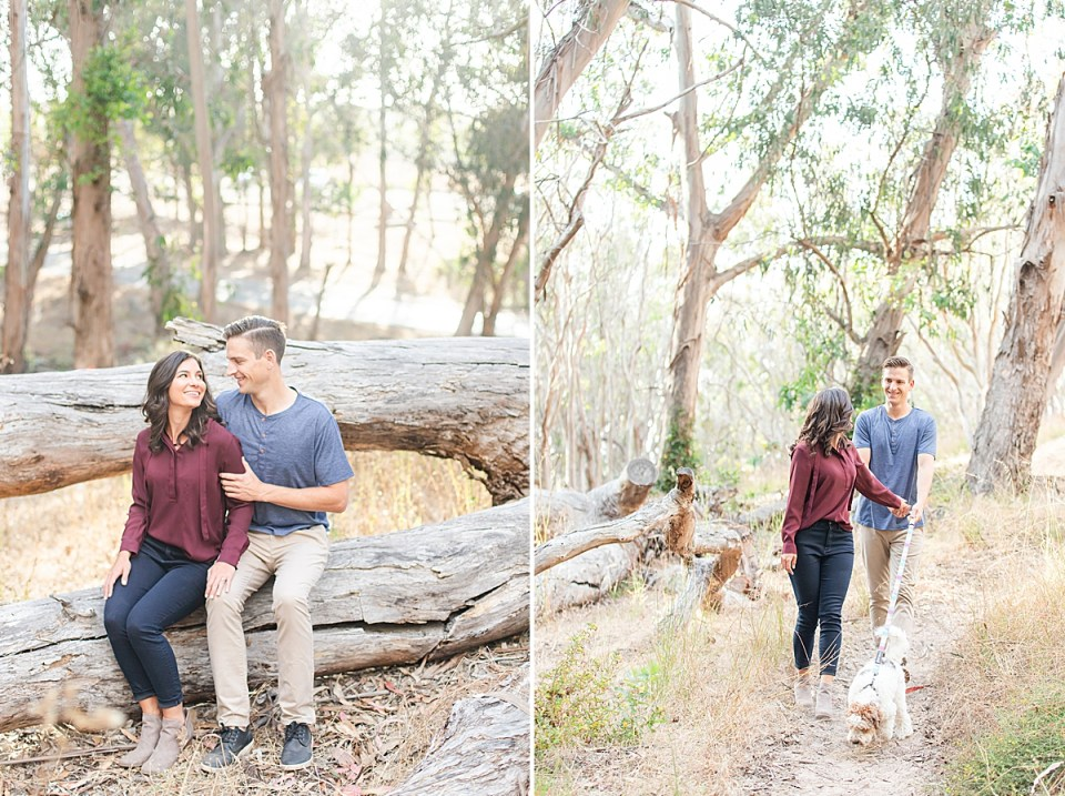 Lauren & Scott sitting close together on a fallen tree smiling at each other. A second photo of the couple walking their Aussiedoodle Cali on a path through eucalyptus trees during their Montaña de Oro engagement session.