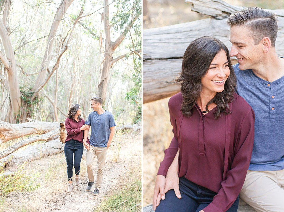 The couple holding hands as they walk through dense trees and brush. A second image of the couple sitting as Lauren smiles off camera and Scott smiles at her.