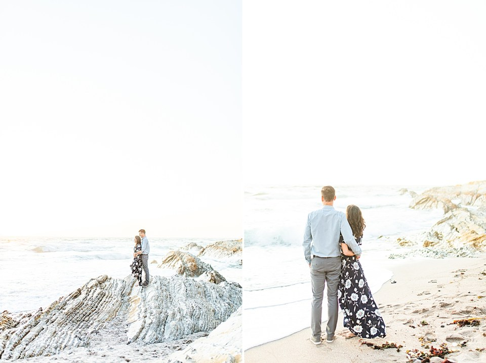 the bride and groom standing on a large rock and a second image of the couple with their backs to the camera as they stare out across the Pacific ocean during their Montaña de Oro engagement session.