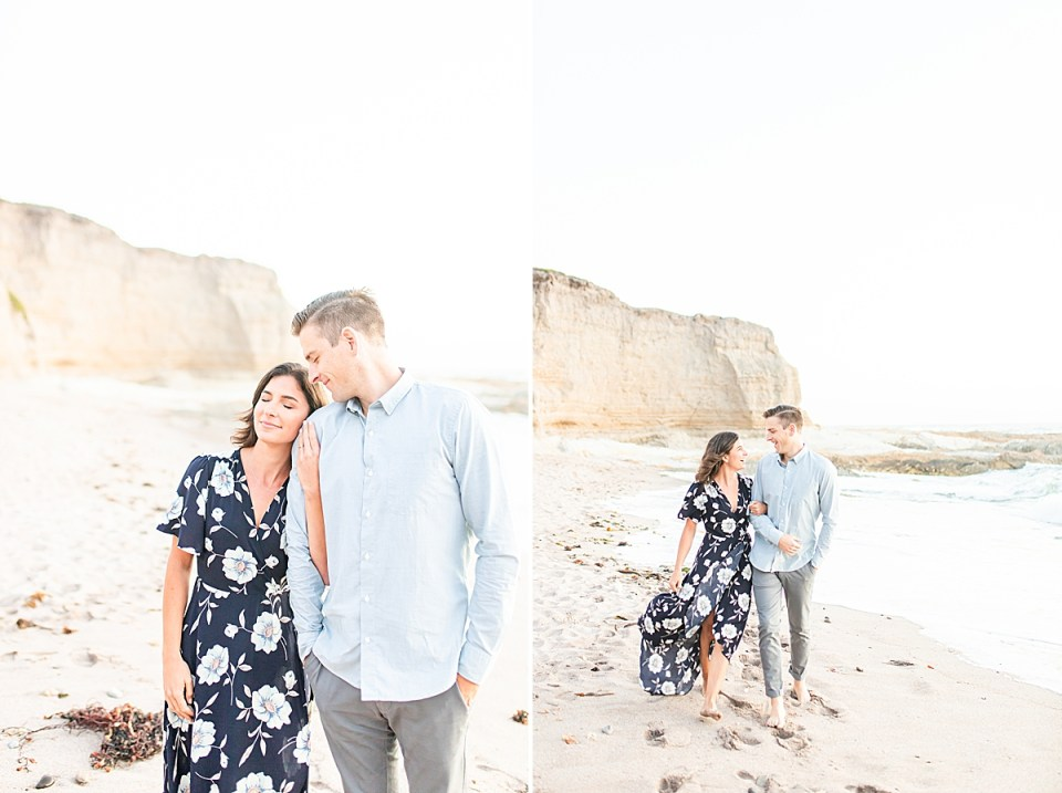 Scott smiling towards Lauren as she closes her eyes and leans against his shoulder. A second image of the couple walking along the beach holding hands.