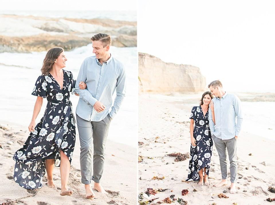 Lauren & Scott walking along the beach during their Montaña de Oro engagement session.