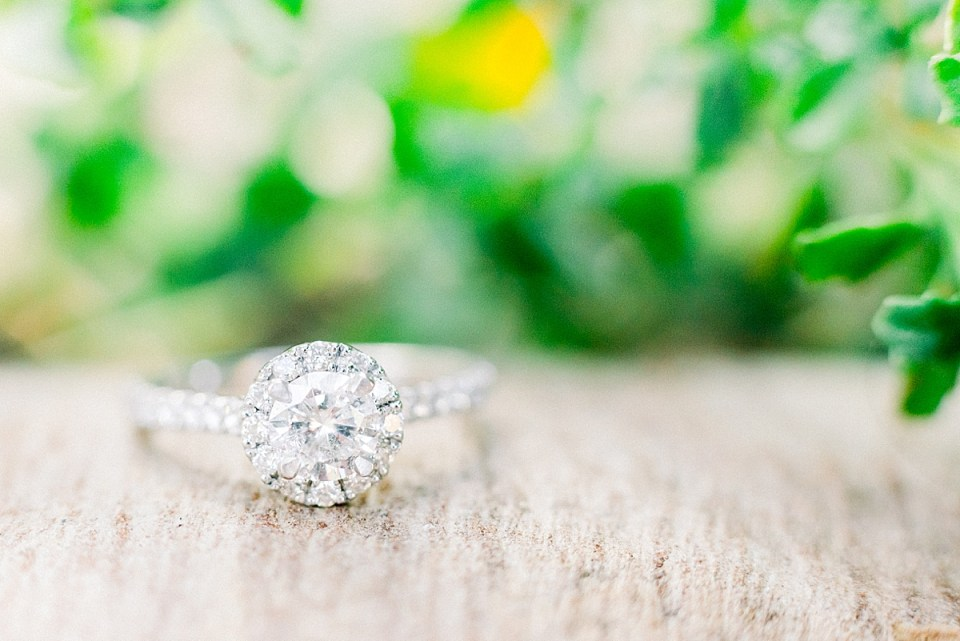 A close up of the bride's engagement ring during their Ellwood Mesa Engagement session