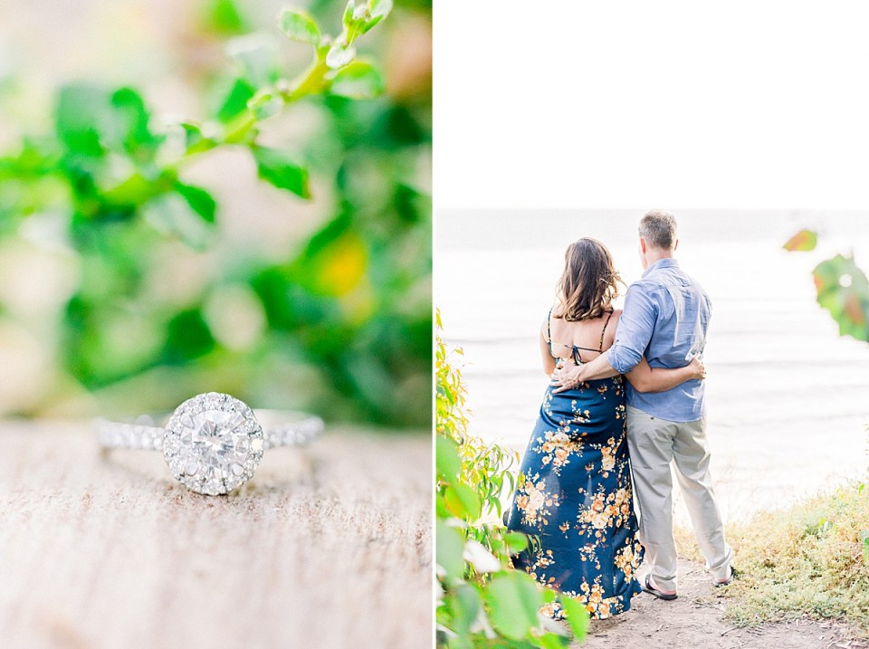 A close up image of the couples engagement ring and a second image of the couple holding each other around the waist as they look out towards the ocean.