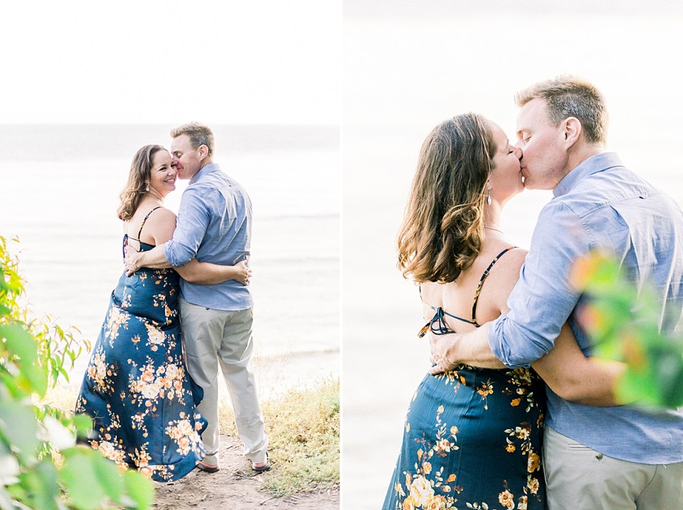 Joe kissing his fiancé's cheek while she giggles back at the camera. A second image of the couple sharing a kiss during their Ellwood Mesa Engagement session