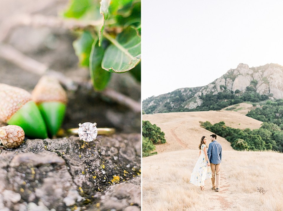 A close up of Kat's engagement ring with oak leaves and acorns. A second image of the couple walking along the path towards Bishop's Peak in San Luis Obispo, California.