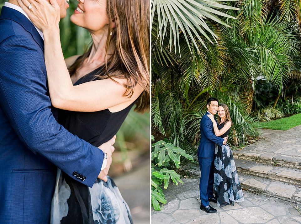 Erica placing her hands on Gideon's cheek and leaning in for a kiss while he pulls her with his hands around her waist. A second image of the couple with their cheeks touching and smiling at the camera.