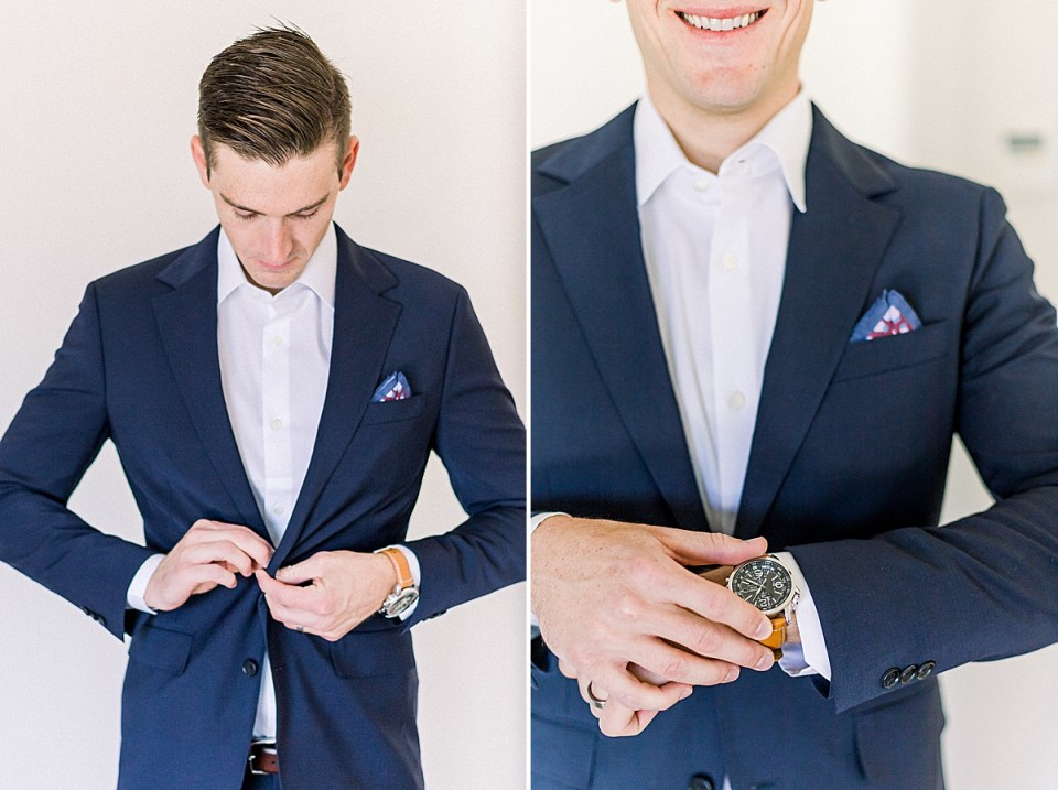The groom buttoning his jacket and a second image of him smiling and showing off his watch.