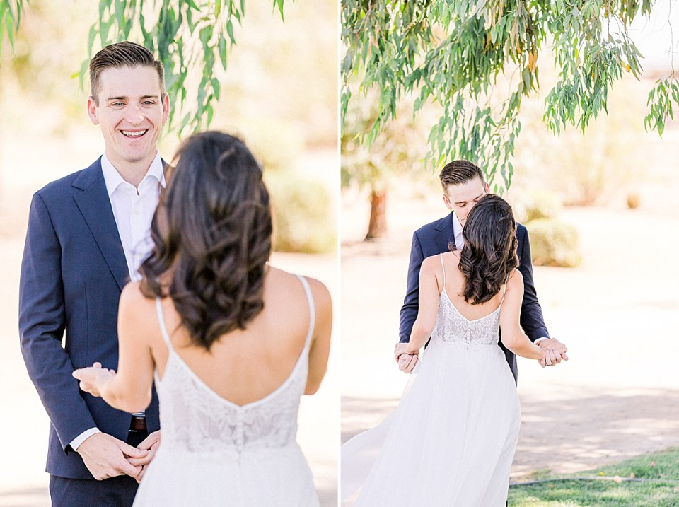 Lauren reaching her arms out to Scott as Scott smiles at her walking towards him. A second image of the couple sharing a kiss and holding hands under a tree.