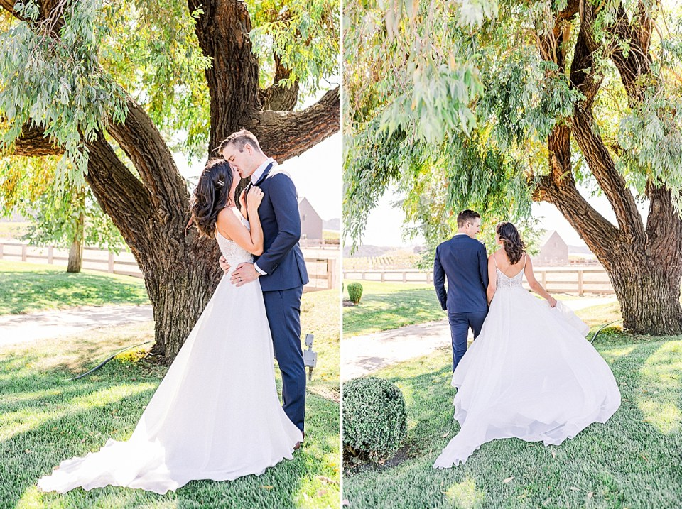 Lauren & Scott sharing a kiss under a large tree. A second image of the couple holding hands and walking away from the camera
