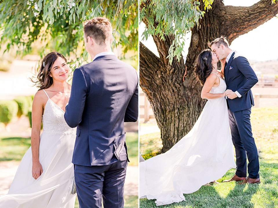 Lauren looking up at Scott and smiling as he says his vows, and a second image of the couple sharing their first kiss as husband & wife.
