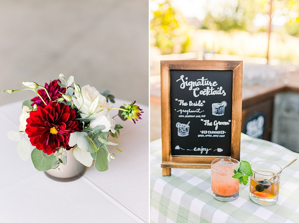 The floral centerpiece on the cocktail table. A second image of the couple's signature cocktails next to a sign that displays what each one is.