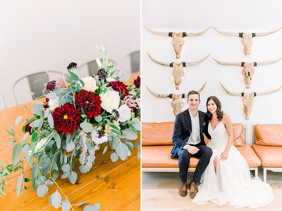 A floral centerpiece, and a second image of the couple sitting on a bench under the wooden skulls hanging on the wall at the MarFarm wedding venue in San Luis Obispo, California.