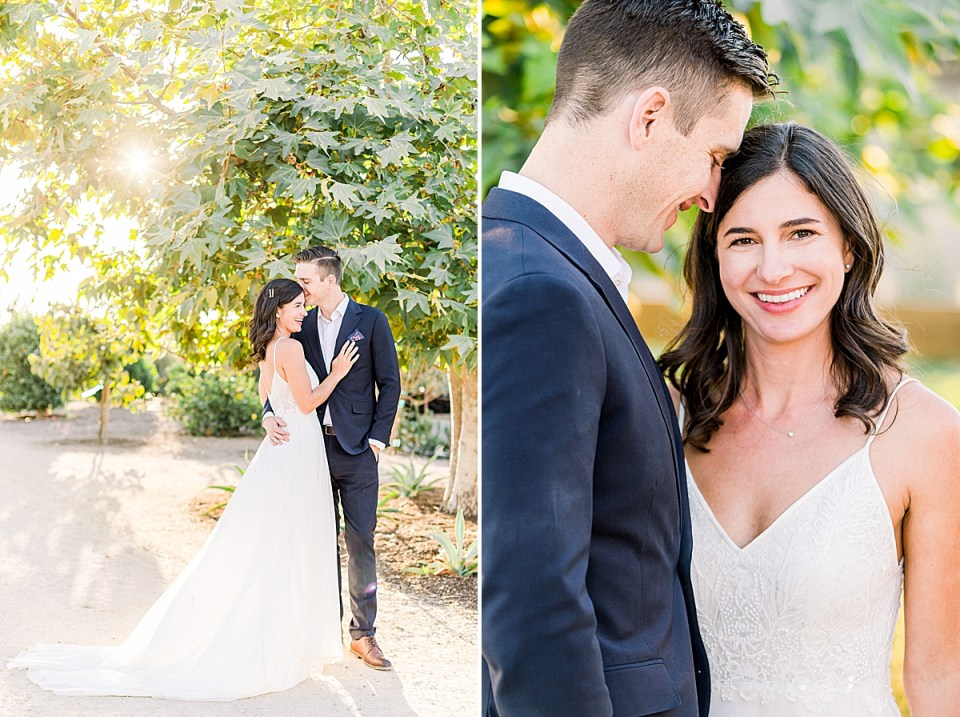 The couple leaning in close to each other while the sunlight floods through the leaves of a tree behind them. A second image of Lauren smiling at the camera as Scott smiles at her.