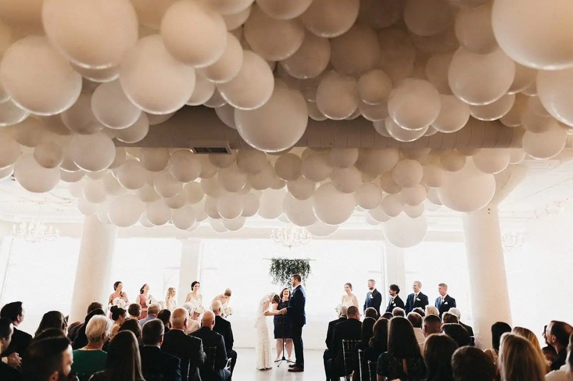 Ceiling organic balloon decorations for weddings