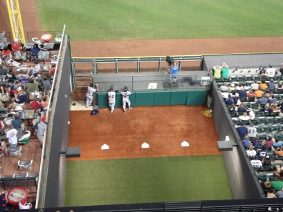 A view of the visitor's bullpen at Progressive Field. Phil Coke, a reliever for the Detroit Tigers is in the middle.