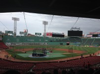 Our view of batting practice at the beginning of our tour of Fenway Park