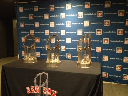 The three Red Sox World Series trophies that were on display during our visit