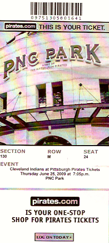 My ticket from the Pittsburgh Pirates game I attended in 2009.