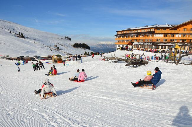 Sledging slope in front of the sun terrace