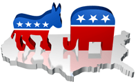 Republicans Democrats Symbols US Election