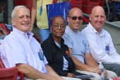 Johnston County Board of Education members (from left) Butler Hall, Dorothy Johnson (Vice Chair), Todd Sutton, and Michael Wooten (Chairman) sit together during Convocation 2018.