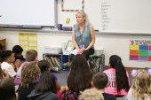 Fifth grade teacher Whitney Jackson provides a brief orientation for her students.