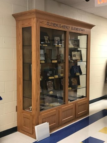 Glendale-Kenly Elementary memorabilia display case.