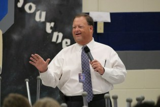 Johnston County Public Schools Superintendent Dr. Ross Renfrow welcomes Clayton High School staff to the Flexible Learning Day on Friday.