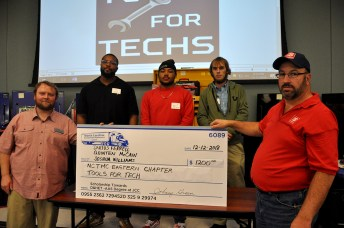 Quinten McCain of Four Oaks, Darius Ferrell of Wendell, and Joshua Williams are pictured with from left Donnie Hines, NCTMC president and Luther Daniels, Eastern Chapter NCTMC secretary.
