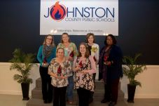 Educators that serve outside of a classroom setting were recognized for the important roles they play in Johnston County Public Schools at a special Employee of the Year reception on March 21. Those who were recognized on the front row are School Nutrition Assistant of the Year Katherine Myers (left) and School Counselor of the Year Abby Stephenson (right). Those who were recognized on the back row (from left) are Media Specialist of the Year Stephanie Haumont, School Nutrition Manager of the Year Linda Houser, Itinerant Teacher/Related Services Provider of the Year Sharon Payne, and School Support Personnel of the Year Vicky Montgomery.