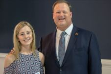 Benson Middle teacher Katie Carraway (left) was named a finalist for the JCPS First Year Teacher of the Year award. Standing with her is Johnston County Public Schools Superintendent Dr. Ross Renfrow (right).