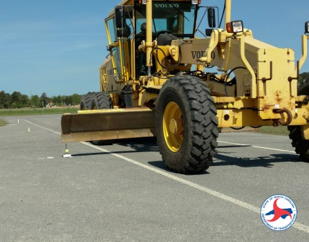 A motor grader competition on Thursday in Goldsboro.