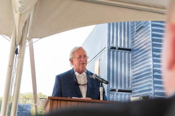Longtime Johnston Community College supporter Donnie E. Lassiter of Selma speaks to attendees during the opening of a new fire tower training facility on the JCC Main Campus. The facility is named in honor of Mr. Lassiter, his late wife Linda V. Lassiter, and their family.