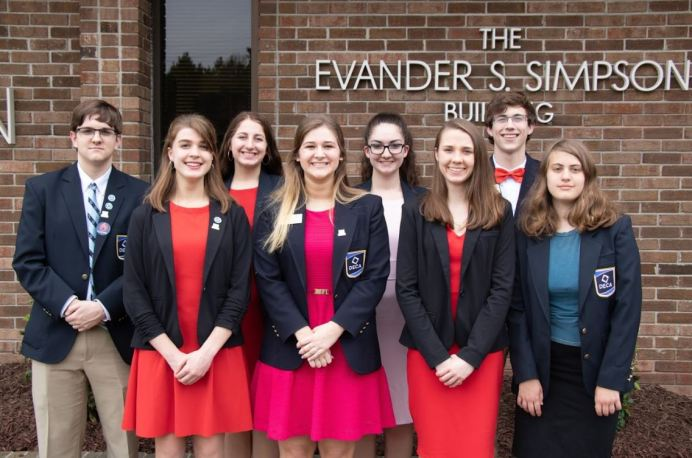 Corinth Holders High students in DECA who will compete at the national level on the front row (from left) are Marrah Ste. Marie, Bella Pettit, Guendlynn Grimmick, and Jessica Dunn. Those recognized on the second row (from left) are Nick Eberwein, Emma Faulkner, Ashley Shabo, and Matthew Williamson.