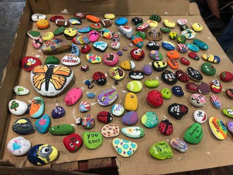 Many of the rocks painted by employees of Champion Hoist and Equipment