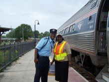Pervorrice Banks is pictured with an Amtrak Conductor. Contributed photo
