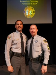 Highway Patrol Colonel Glenn M. McNeill, Jr. with newly promoted First Sgt. R.B. Maynard. Photo by John Payne