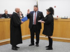 Councilman John Dunn receives his Oath of Office from Chief Resident Superior Court Judge Tom Lock. Afterwards, Dunn was appointed as Mayor Pro Tem.