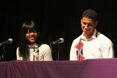 Corinth Holders High students and Equity Club members Jordan DeLoatch (left) and Nathan Campbell (right) participate in the panel discussion at the We Are One: A Unity Forum.
