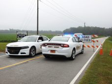 Deputies block Galilee Road near Smithfield Tuesday morning.