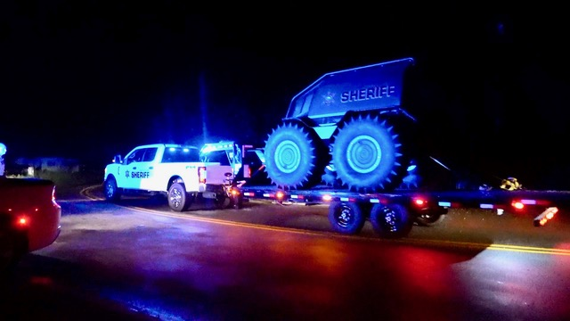 The Johnston County Sheriff's Office arrives with a SHERK ATV on Galilee Road early Tuesday morning. Photo by John Payne