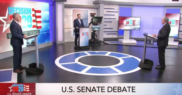 From left, U.S. Sen. Thom Tillis, R-N.C., Democrat Cal Cunningham, and moderator David Crabtree at the first Senate debate sponsored by WRAL News Sept. 14, 2020. WRAL News screenshot