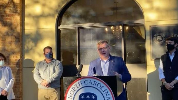 House Speaker Tim Moore, R-Cleveland, speaks at a Nov. 16 news conference at N.C. Republican Party headquarters in Raleigh. He is flanked by the GOP leadership members for the 2021 General Assembly. From left, Speaker Pro Tem Sarah Stevens, R-Surry; Deputy Majority Leader Brenden Jones, R-Columbus; and Majority Whip Jon Hardister, R-Guilford. Facebook screenshot