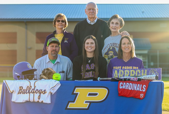 Front Row: Logan Sutton (center) is joined by her parents Rick and Laura Beth Sutton. Back row: Logan's grandparents Grace Sutton, M.L. Stallings and Annette Stallings.