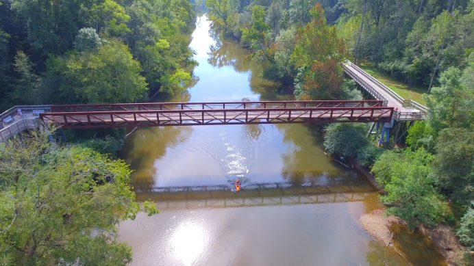 Town of Clayton Neuse River Pedestrian Bridge with Kayaker 12-23-20-1CP