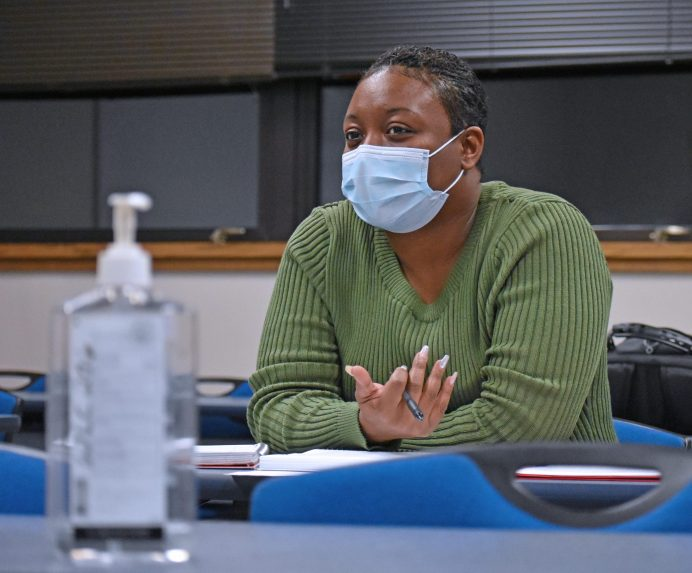 Bottles of hand sanitizer are a constant in Venicha Tarpley's classrooms at Wayne Community College.