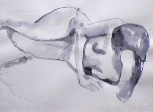 Life Drawing at the Art League, Ink wash on paper
